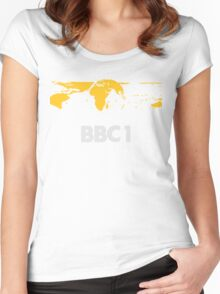 Retro BBC1 world globe ident Women's Fitted Scoop T-Shirt