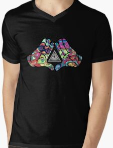 Trippy Illuminati Hands Diamond Mens V-Neck T-Shirt