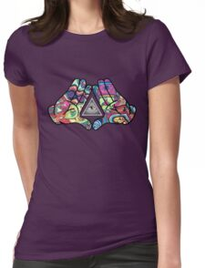 Trippy Illuminati Hands Diamond Womens Fitted T-Shirt
