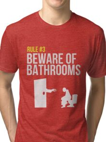 Zombie Survival Guide - Rule #3 - Beware of Bathrooms Tri-blend T-Shirt