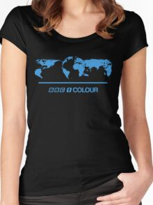 Retro BBC 1 Colour globe graphics Women's Fitted Scoop T-Shirt