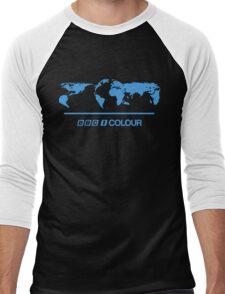 Retro BBC 1 Colour globe graphics Men's Baseball ¾ T-Shirt