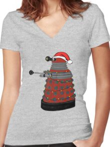 Festive Dalek. Women's Fitted V-Neck T-Shirt
