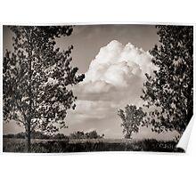 Prairie Clouds - B&W Poster