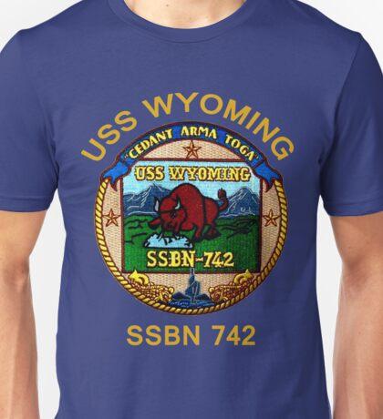 USS Wyoming (SSBN-742) Crest for Dark Colors Unisex T-Shirt