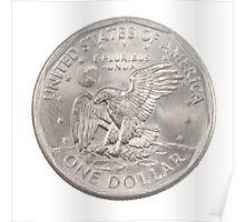 US one Dollar coin (100 cents) isolated on white background  Poster