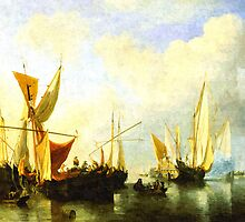 A fleet of sailing ships in the harbour by markmonty
