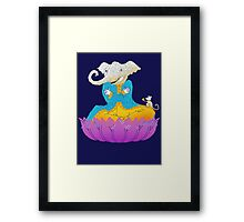 Ganesh on Lotus with Mouse Framed Print