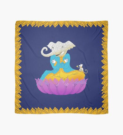 Ganesh on Lotus with Mouse Scarf