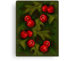 Christmas Hawthorn Berries on Green: Original Art Canvas Print