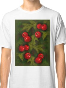 Christmas Hawthorn Berries on Green: Original Art Classic T-Shirt