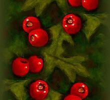 Christmas Hawthorn Berries on Green: Original Art by Joyce Geleynse