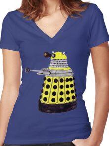 New Paradigm Dalek--Yellow, Watercolour. Women's Fitted V-Neck T-Shirt