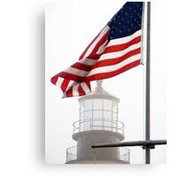 US Flag and Portland Head Light, Maine Canvas Print