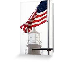 US Flag and Portland Head Light, Maine Greeting Card