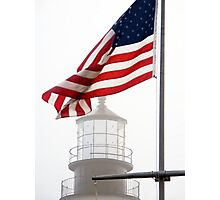 US Flag and Portland Head Light, Maine Photographic Print
