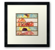 romantic impressionism art watercolor leaves sunflower Framed Print