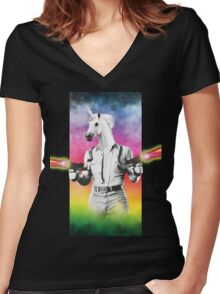 Badass Unicorn Women's Fitted V-Neck T-Shirt