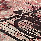 Bike Shadow on Red  by Ethna Gillespie