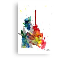 Watercolour and Fine Liner Triangles Canvas Print