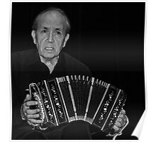 The Accordian Man in Monochrome Poster