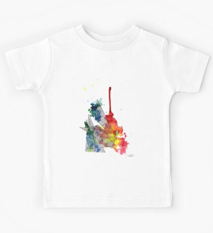 Watercolour and Fine Liner Triangles Kids Tee