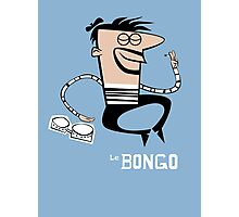 Le Bongo: Beatnik playing the bongos cartoon Photographic Print