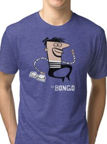 Le Bongo: Beatnik playing the bongos cartoon Tri-blend T-Shirt