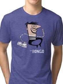 Le Bongo: Beatnik playing the bongos cartoon Tri-blend T-Shirt