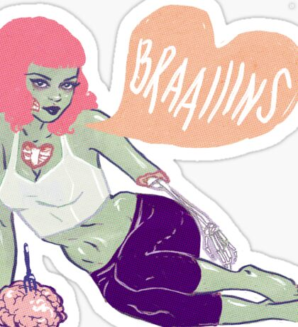Zombie Pin-up –she loooves brains! Sticker