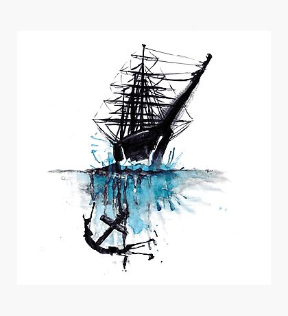 Rigged Sail Ship Watercolor Photographic Print