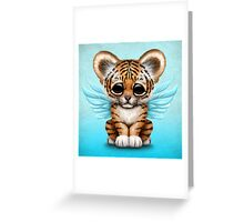 Cute Baby Tiger Cub with Fairy Wings on Blue Greeting Card