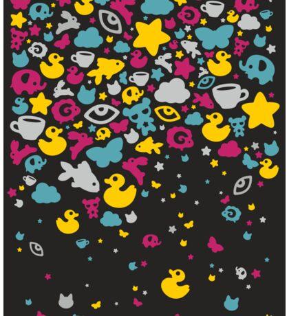 Toys falling like candies - black Sticker