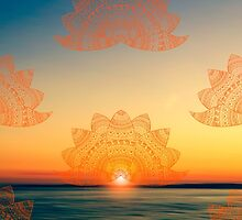 Orange-golden lotus doodle mandala on blurred sunset with sun flare by faithie