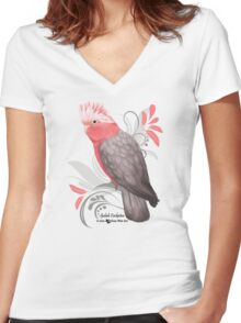 Galah Cockatoo Women's Fitted V-Neck T-Shirt