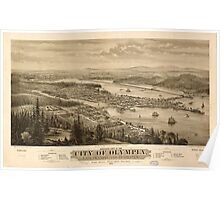 Panoramic Maps Bird's eye view of the city of Olympia East Olympia and Tumwater Puget Sound 1879 Poster