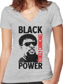 Stokely Carmichael-Black Power Women's Fitted V-Neck T-Shirt