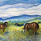 Horses in the Field by lorikonkle