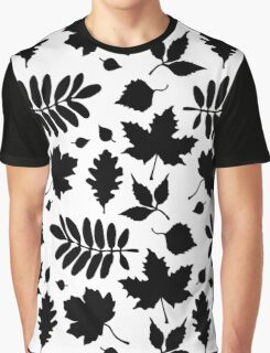 Bold Black Leaves Pattern Graphic T-Shirt