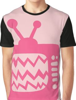 Vintage Pink Cartoon TV Graphic T-Shirt