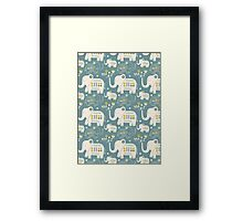 Elephants in Blue  Framed Print