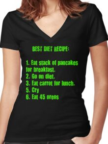 Best Diet Recipe Women's Fitted V-Neck T-Shirt