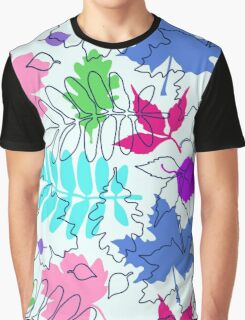 Bold Leaves Pattern Graphic T-Shirt