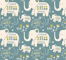 Elephants in Blue  by limegreenpalace