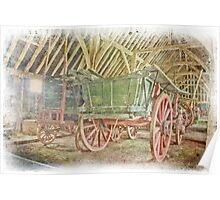Wagons In A Barn Poster