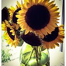 Sunflowers in Green Glass by Barbara Wyeth