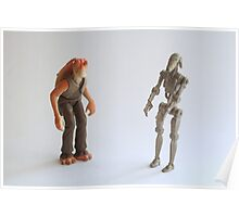 Jar Jar and battle droid Star wars action figure Poster
