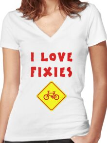 I love FIXIES Women's Fitted V-Neck T-Shirt
