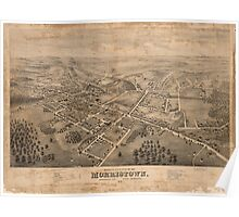 Panoramic Maps Bird's eye view of Morristown Morris Co New Jersey Poster