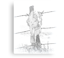 Skull on a fencepost Canvas Print